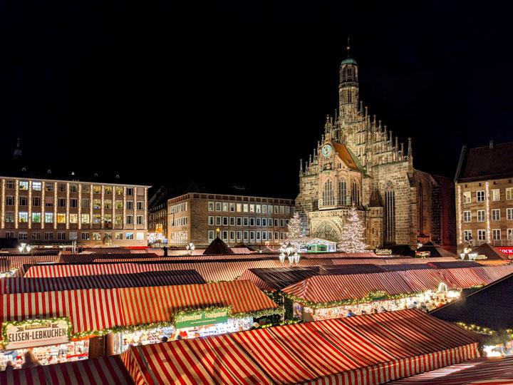 Nuremberg Christmas Market panorama at night