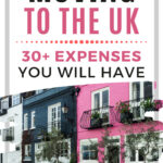 "Pink and blue London mews houses, with text overlay - ""moving to the UK: 30 expenses you will have""."