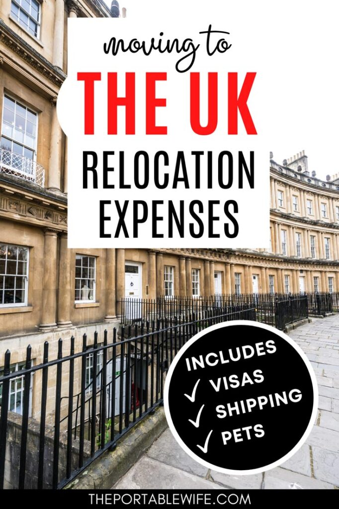 """Curving row of stone houses in Bath, with text overlay - """"moving to the UK relocation expenses."""""""