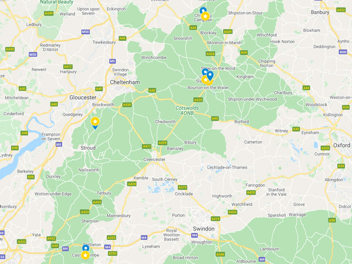 Google Maps snapshot of Cotswolds day trip itinerary map