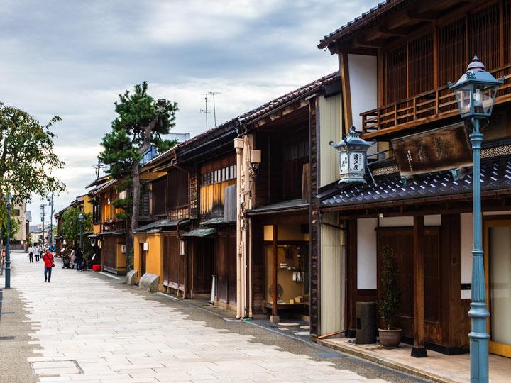Nishi chaya district in Kanazawa, a popular day trip from Tokyo by bullet train