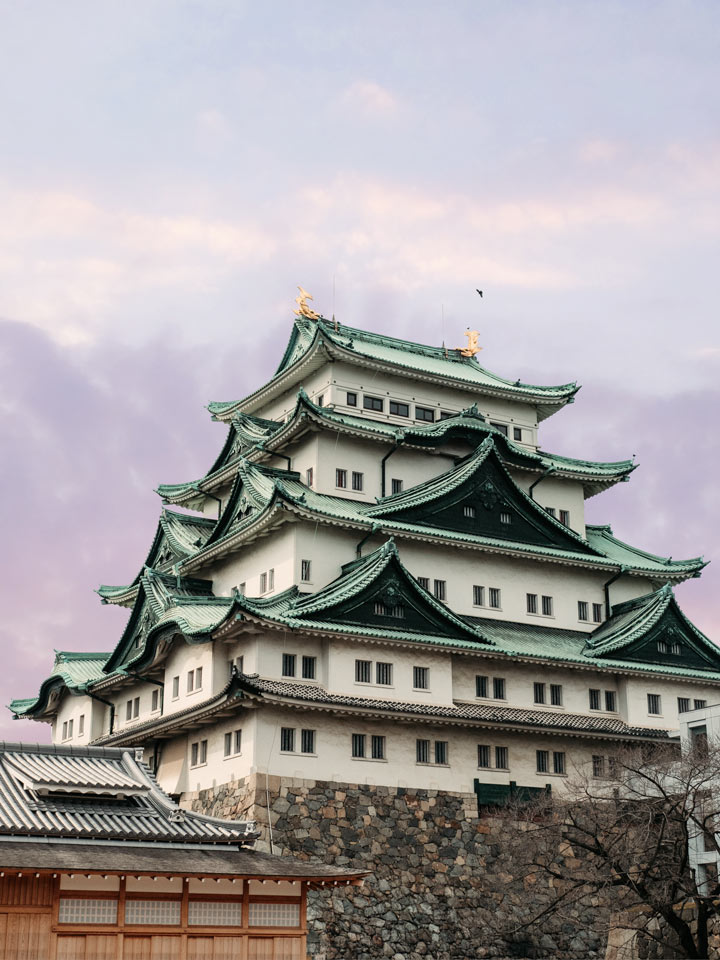 Nagoya Castle with purple sunset sky, among the best bullet train trip from Tokyo