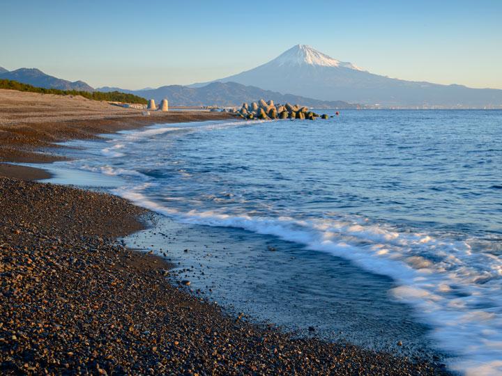 Shizuoka Miho no Matsubara beach with Mt. Fuji view at sunset