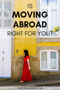 How to know if moving abroad is right for you - girl in red dress by yellow wall