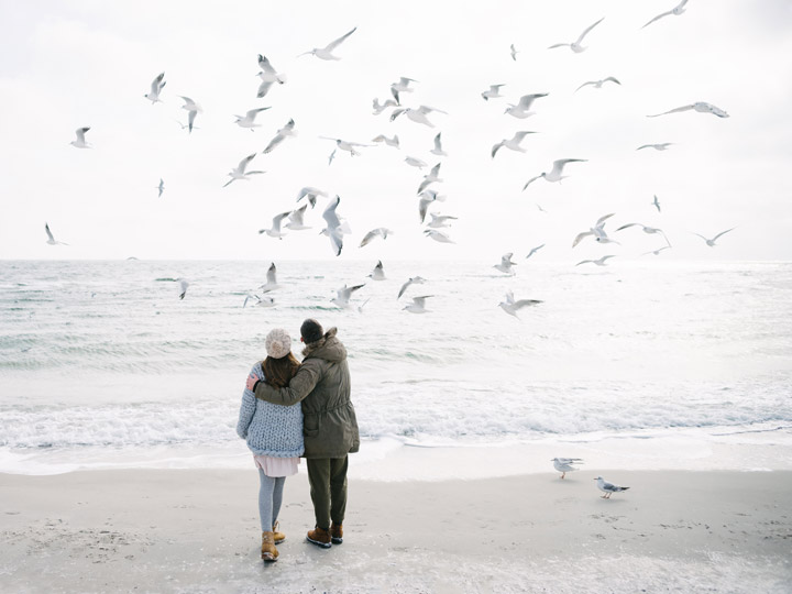 Couple on beach watching flock of seagulls fly overhead