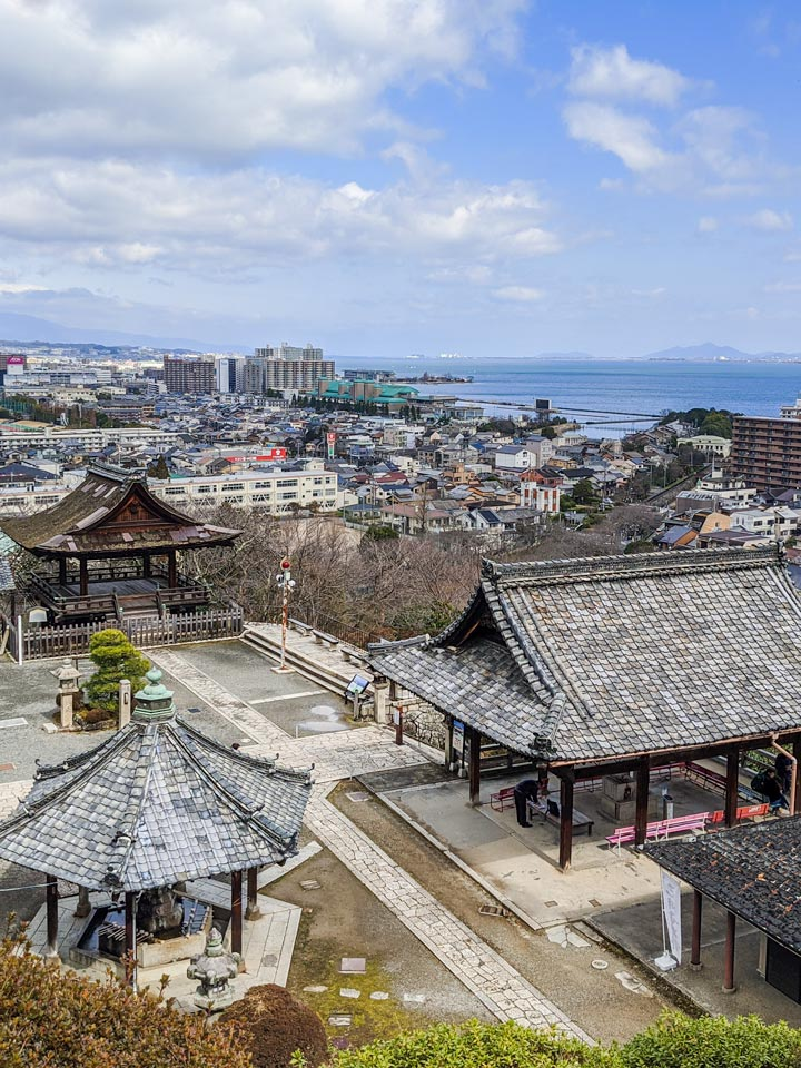 Overhead view of Hiyoshi Taisha and Lake Biwa, a popular day trip from Kyoto