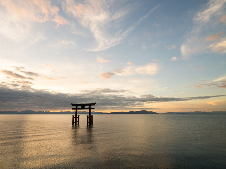 Lake Biwa floating torii gate at sunrise