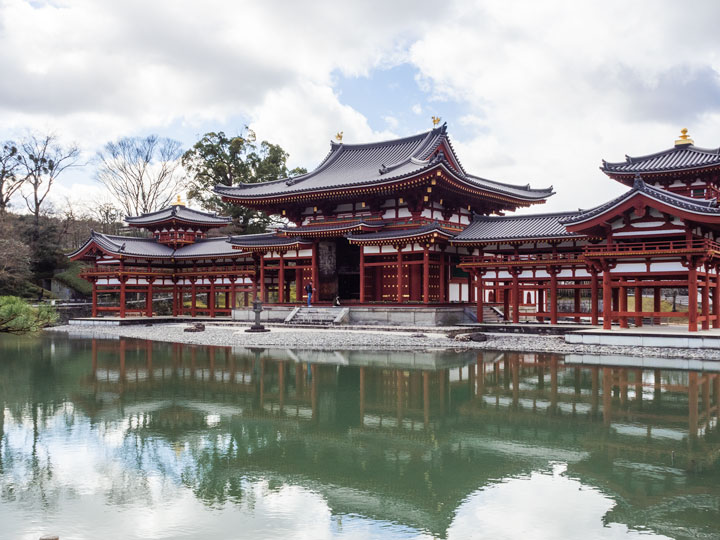 Uji Byodo-in temple with reflection in pond