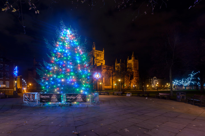 Illuminated Christmas tree at night in front of Bristol Cathedral