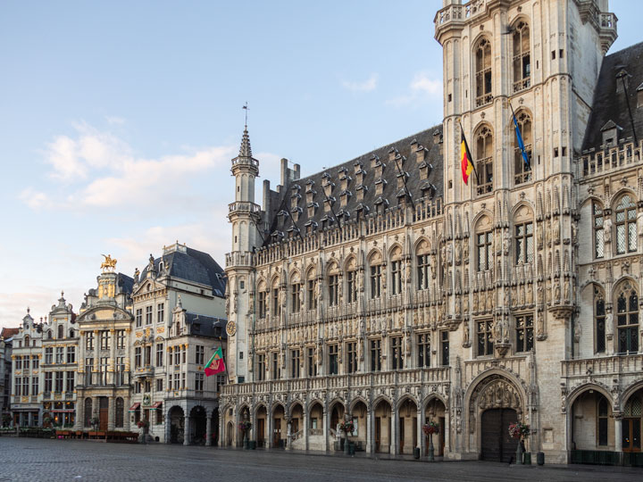 Brussels Grand Place medieval town hall building at sunrise