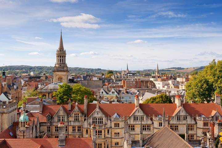 Birds-eye view of Oxford city skyline on sunny day