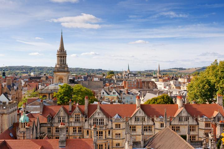 Birds-eye view of Oxford city skyline on sunny day