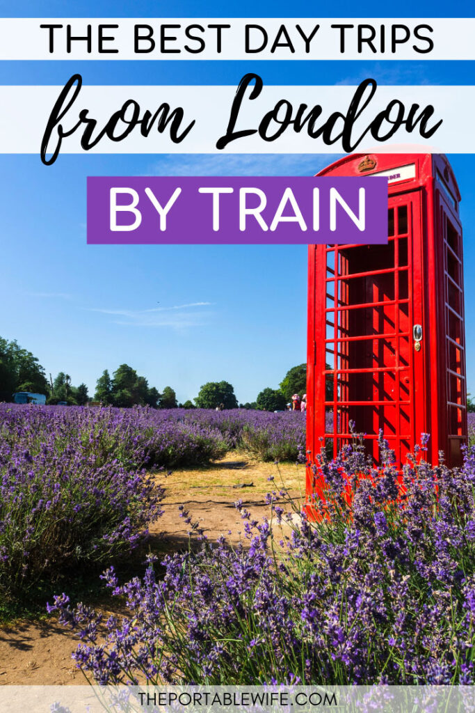 The best day trips from London by train - red phonebox in purple lavender field