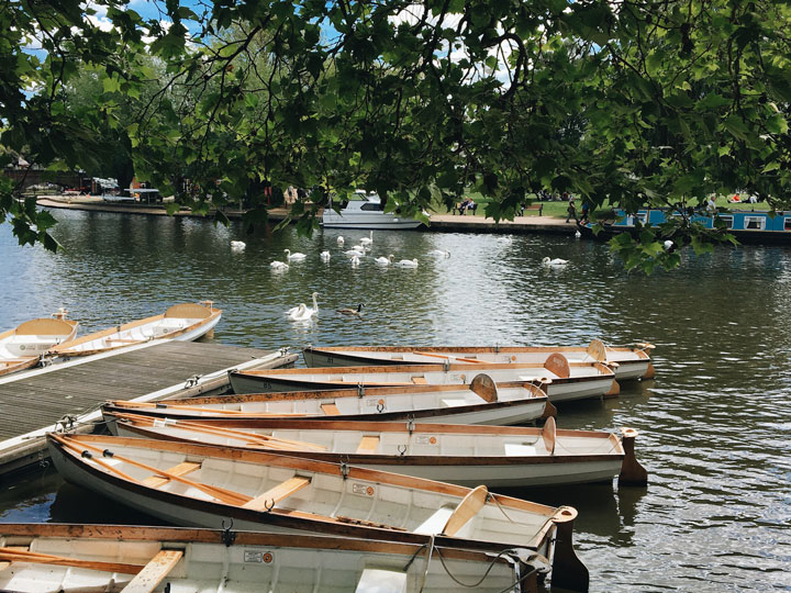 Paddle boats on river in Stratford-upon-Avon, a popular easy day trip from London by train