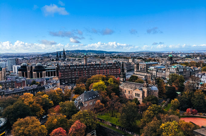 Autumn view of Edinburgh Scotland skyline from castle