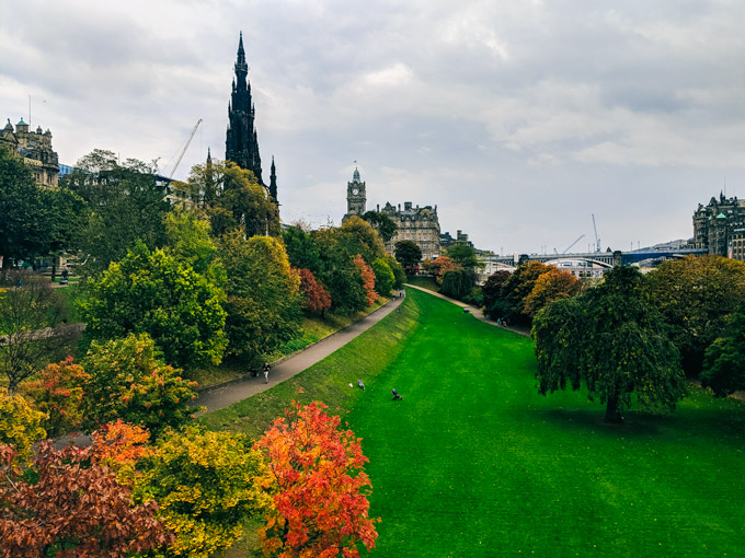 View of Princes Street Gardens Edinburgh in October