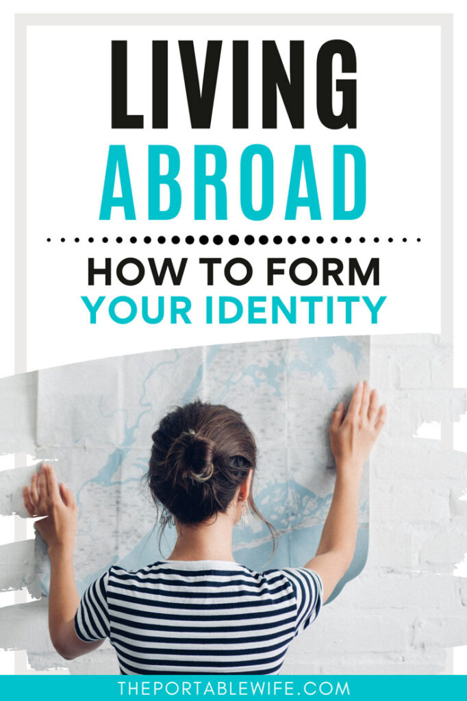 """Woman holding paper map against wall, with text overlay - """"Living abroad: how to form your identity""""."""