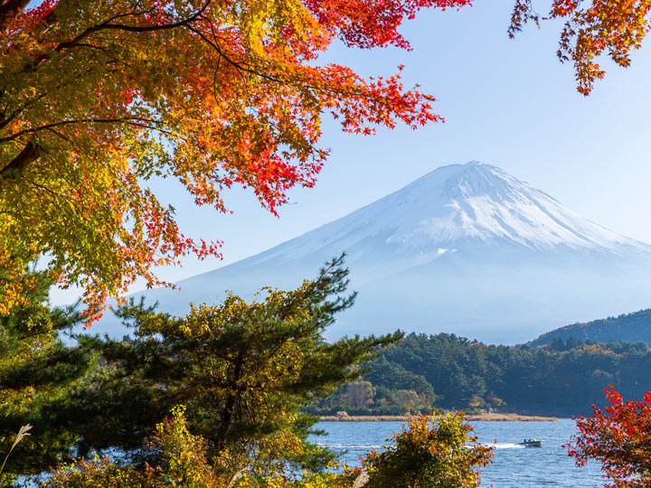 Famous Things in Japan include views of Mount Fuji from Lake Kawaguchiko in autumn
