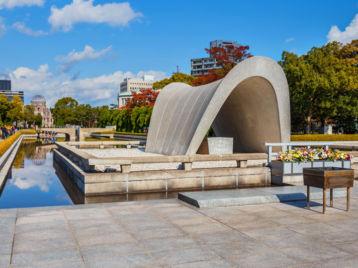 Hiroshima Peace Memorial Park with partly cloudy sky, one of the most famous things in Japan