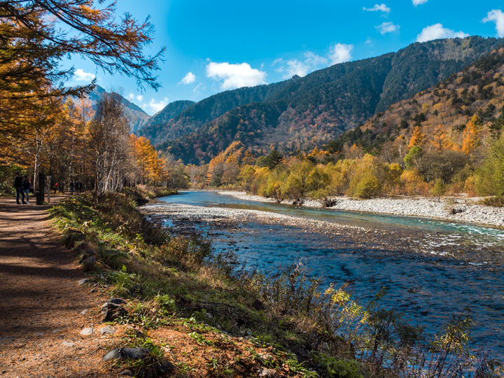 Kamikochi National Park Japan during autumn with river and mountain view