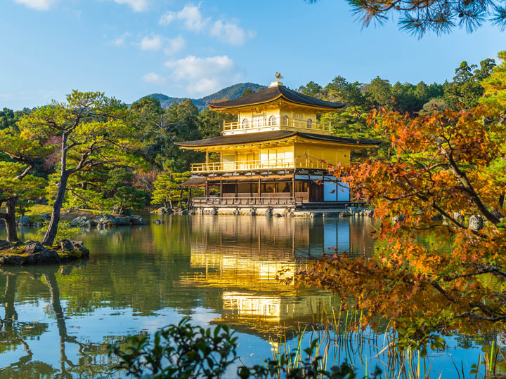 Pond reflection of Kinkakuji, the golden pavilion of Kyoto