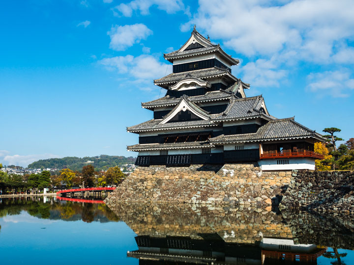 Matsumoto Castle Japan on blue sky day with pond reflection