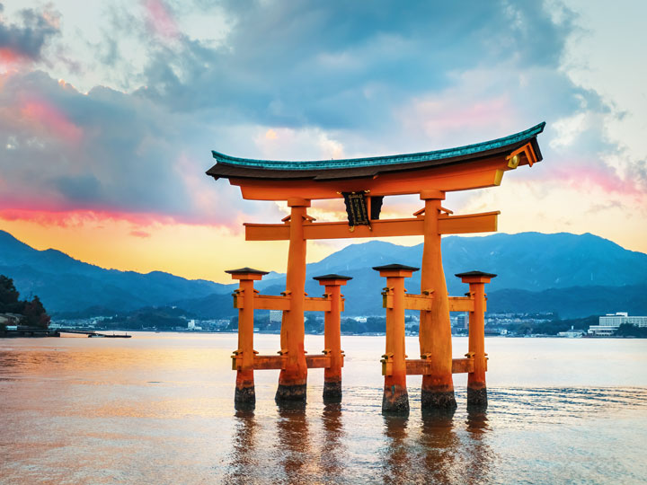 Miyajima floating torii gate at sunrise
