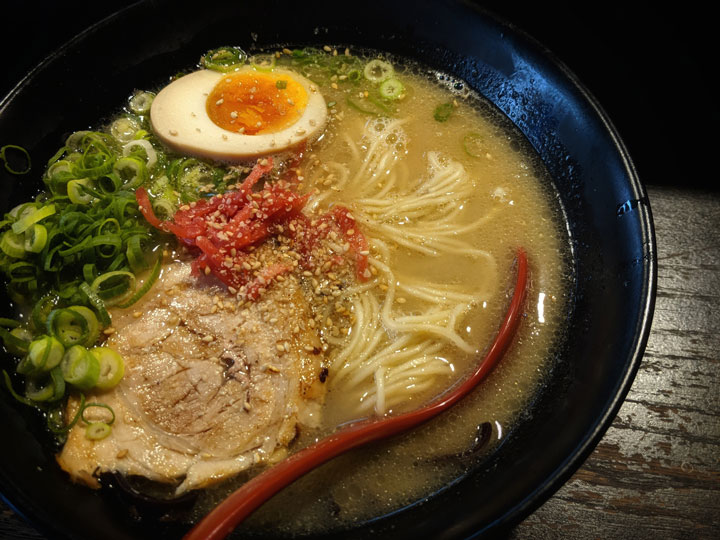 Bowl of Japanese ramen with chashu and ajitama