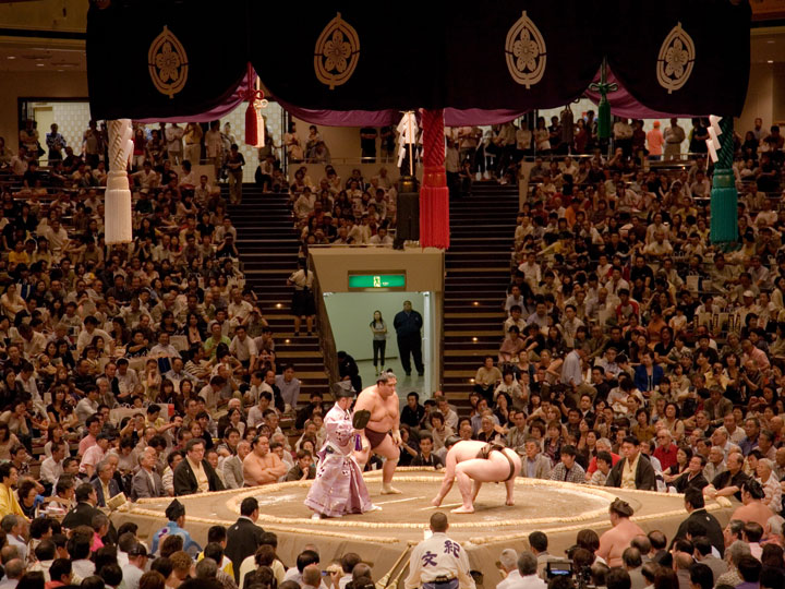 Sumo match with view of ring and crowd
