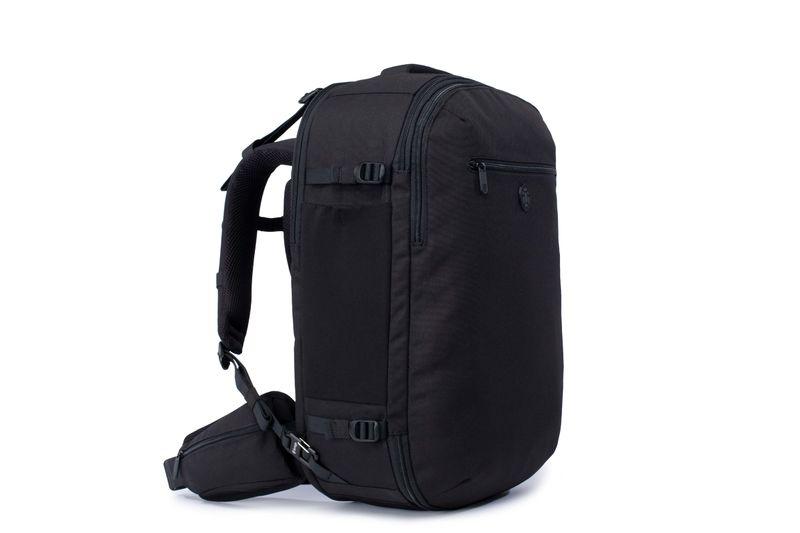 Black front loading travel backpack