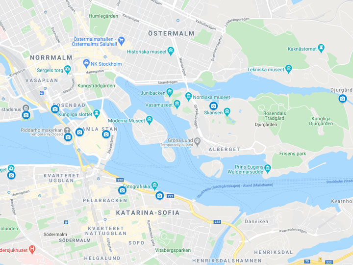 Google Maps snapshot of Stockholm photography spots map