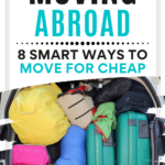 """Car trunk packed with luggage, with text overlay - """"Moving Abroad: 8 smart ways to move for cheap""""."""