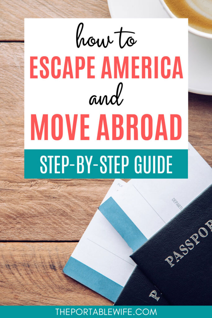 How to escape America and move abroad: step-by-step guide - two passports with airline tickets sitting on wooden table