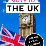 How to move to the UK - Big Ben and Union Jack flag on blue background