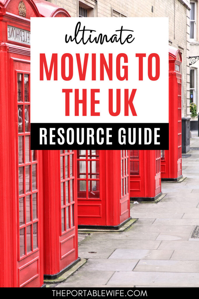 Ultimate moving to the UK resource guide - four red phonebooths in a row