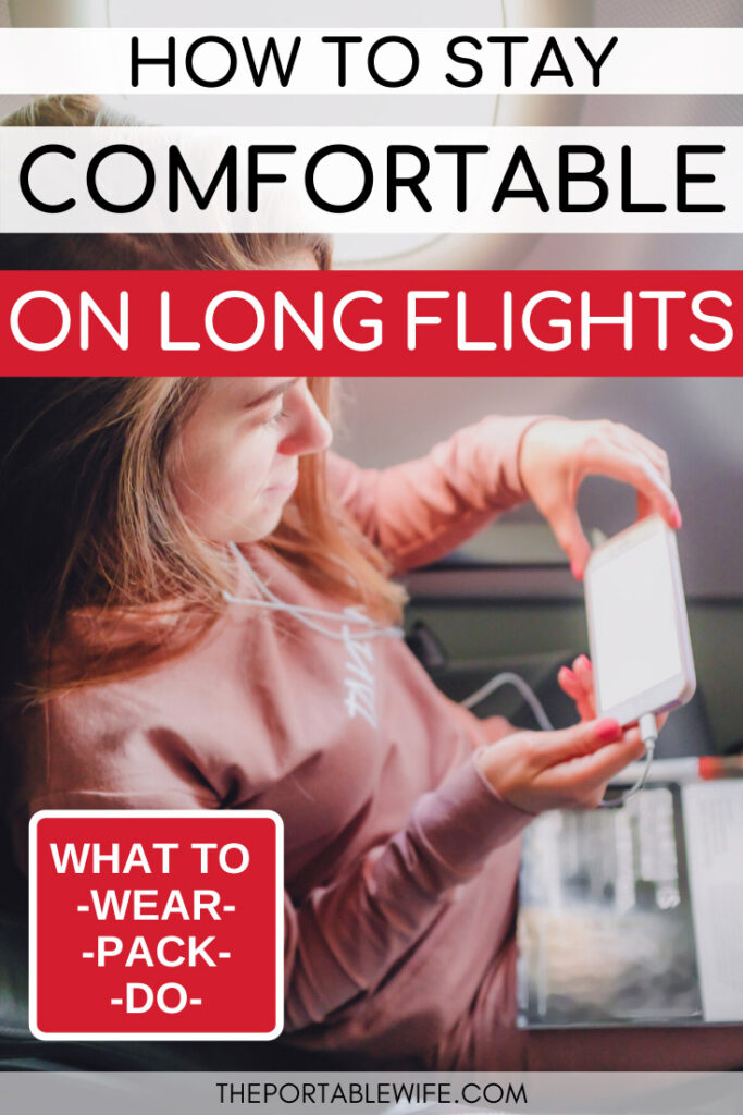 How to stay comfortable on long flights - girl on plane reading on smartphone
