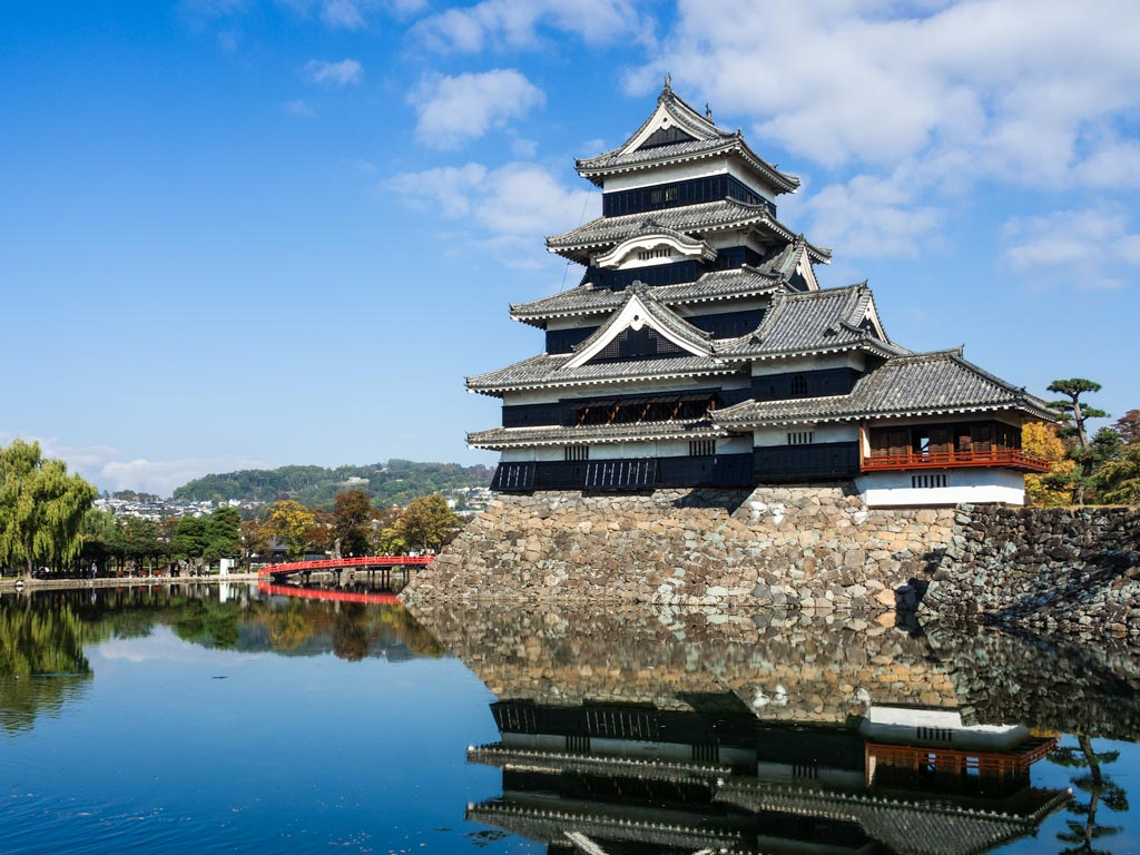 Matsumoto Castle with reflection pond and red bridge against blue sky
