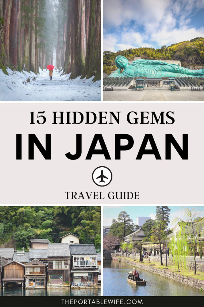 "Collage of Japanese landscapes and reclining Buddha, with text overlay - ""15 hidden gems in Japan""."