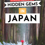 "Girl with red umbrella walking through forest, with text overlay - ""15 amazing hidden gems in Japan""."