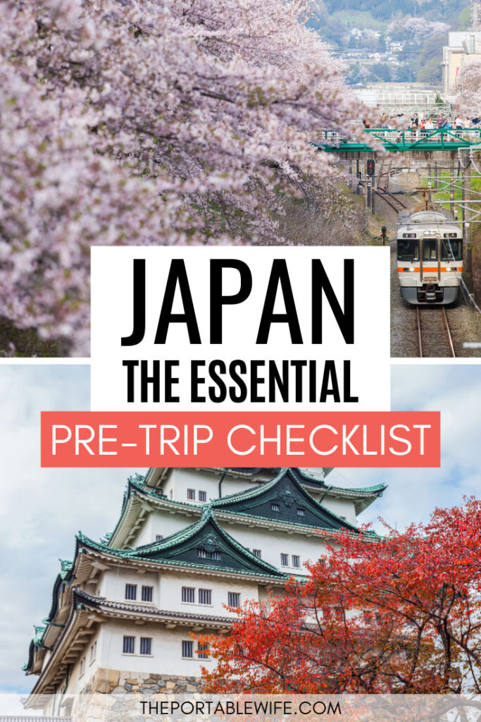Essential Japan Travel Checklist - train under cherry blossom tree and Nagoya castle with red leaf tree