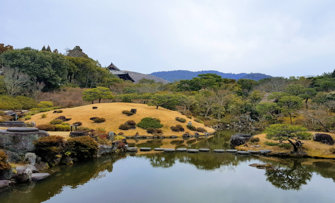 Japan traditional garden pond