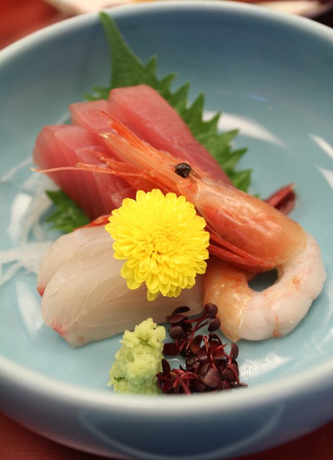 Colorful dish with Japanese kaiseki meal