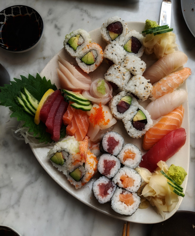 Platter of colorful Japanese sushi