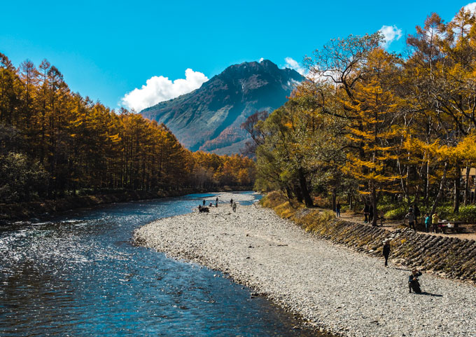 Mt. Yakedake, one of the first views you see when entering Kamikochi hiking area
