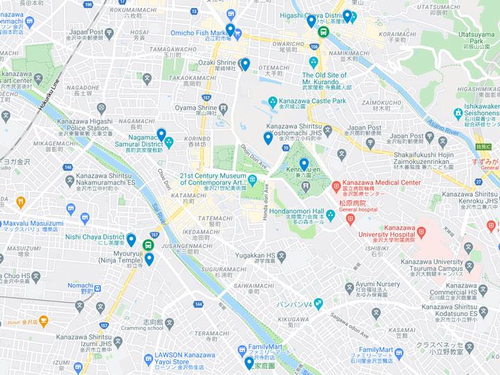 Google Maps snapshot of Kanazawa day trip itinerary map