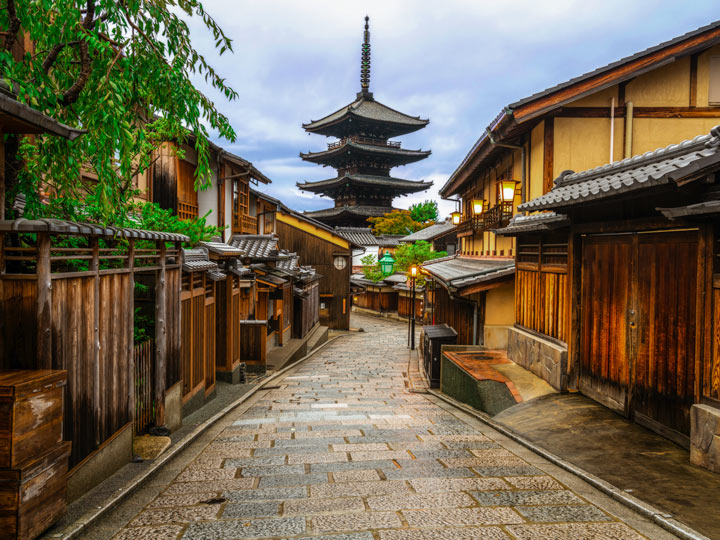 Kyoto Ninenzaka street with traditional houses and view of pagoda at end