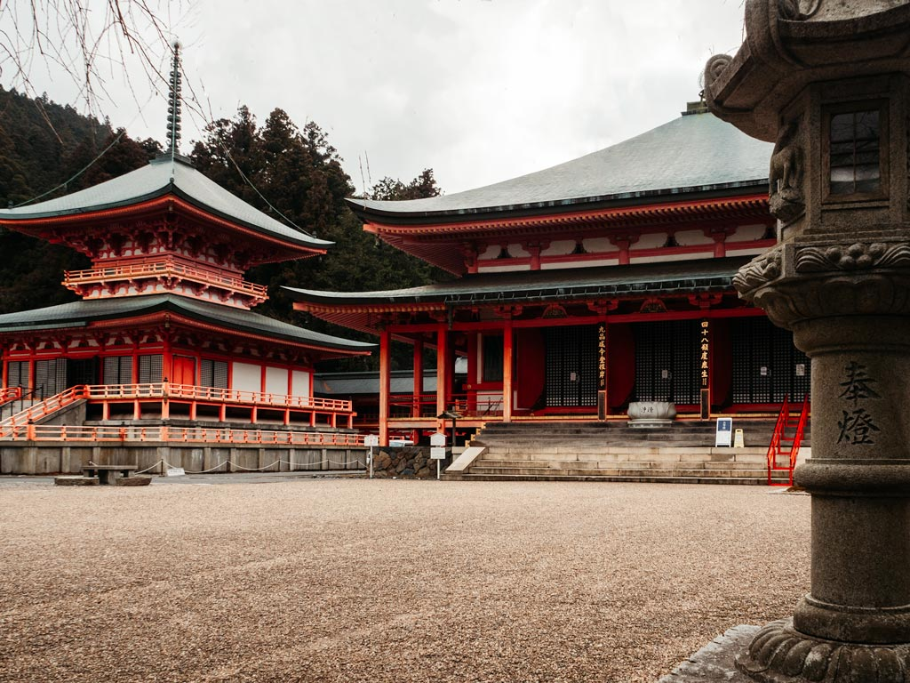 East Pagoda and hall of Enryakuji with stone lantern in foreground