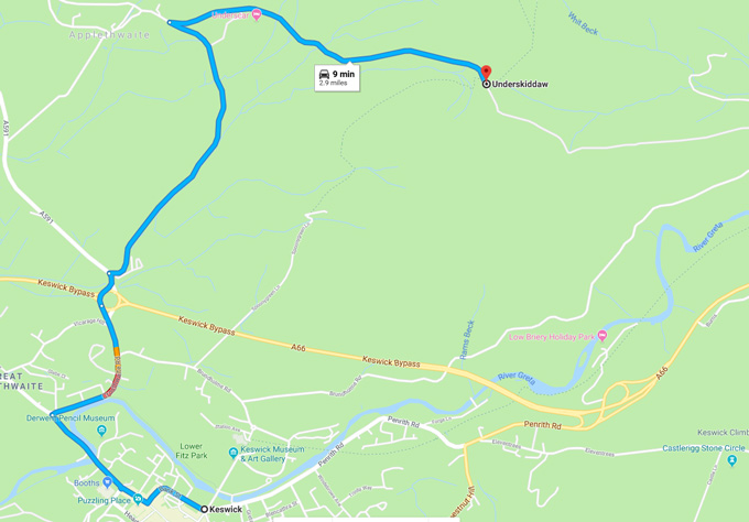 Map of route from Keswick Village to Latrigg car park
