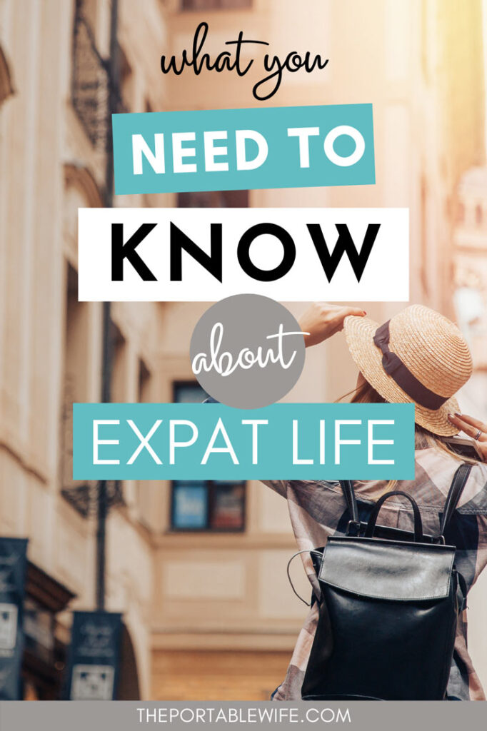 """Girl walking down street holding straw hat, with text overlay - """"what you need to know about the life of an expat""""."""