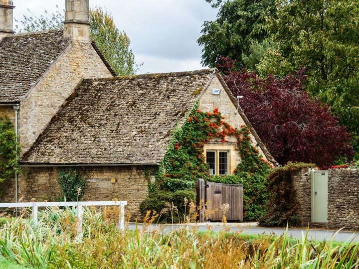 Stone cottage with ivy and roses on facade in England countryside